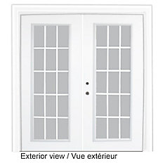 61 inch x 82.375 inch Clear LowE Argon Prefinished White Right-Hand Steel Garden Door with 7-1/4 inch Jamb and 15-Lite Internal Grill