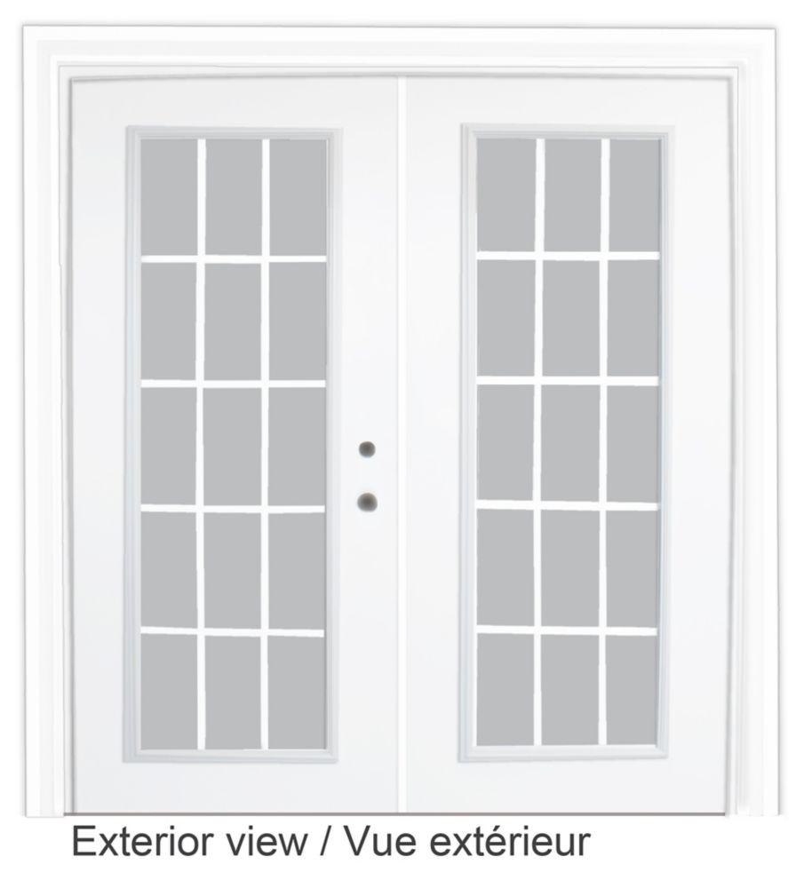Steel Garden Door-15 Lite Internal Grill-6 Ft. x 82.375 In. Pre-Finished White Lowe Argon-Left Hand 600114 Canada Discount