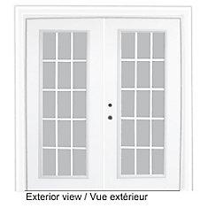 71 inch x 82.375 inch Clear LowE Argon Prefinished White Right-Hand Steel Garden Door