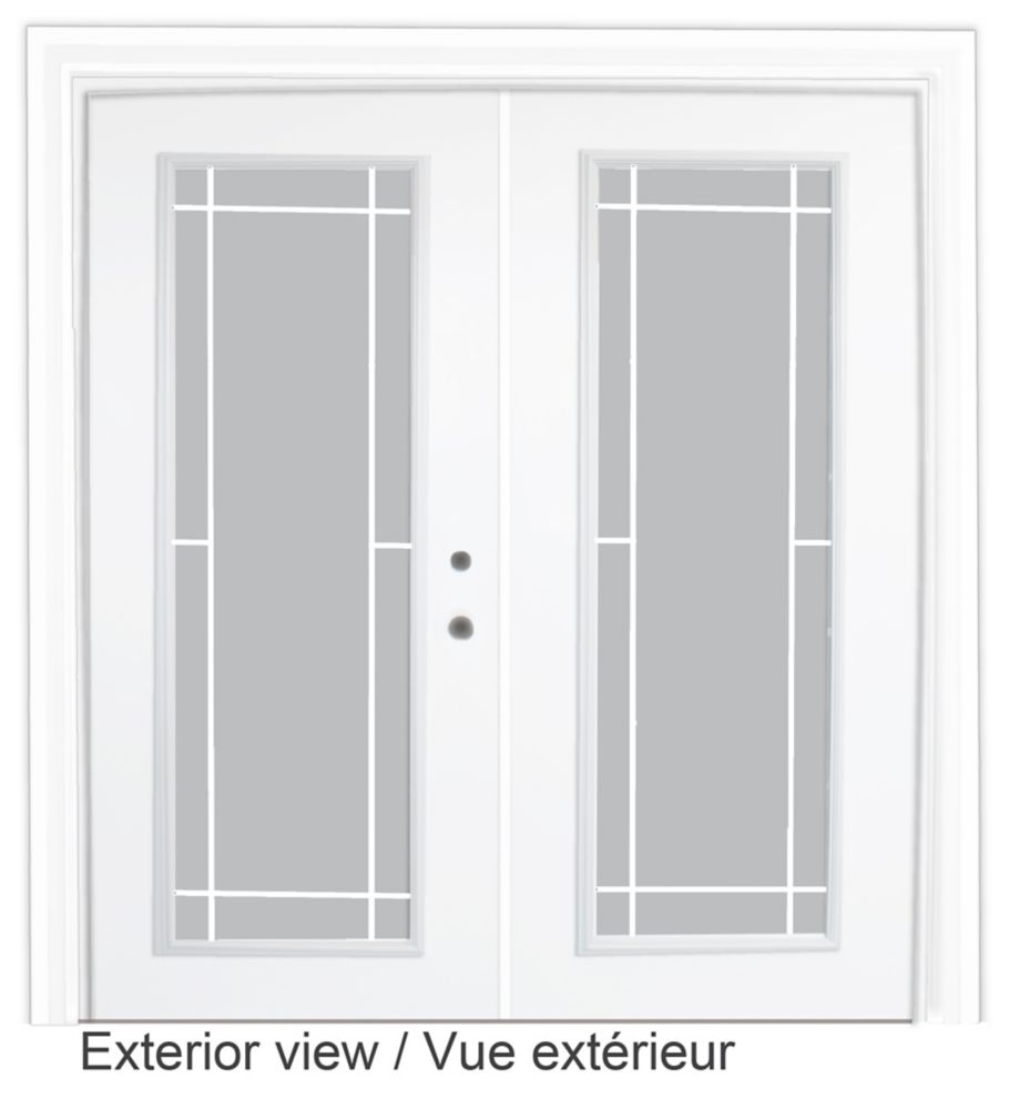 60-inch x 82-inch White Low-E Argon Lefthand Steel Garden Door with Prairie Style Grill