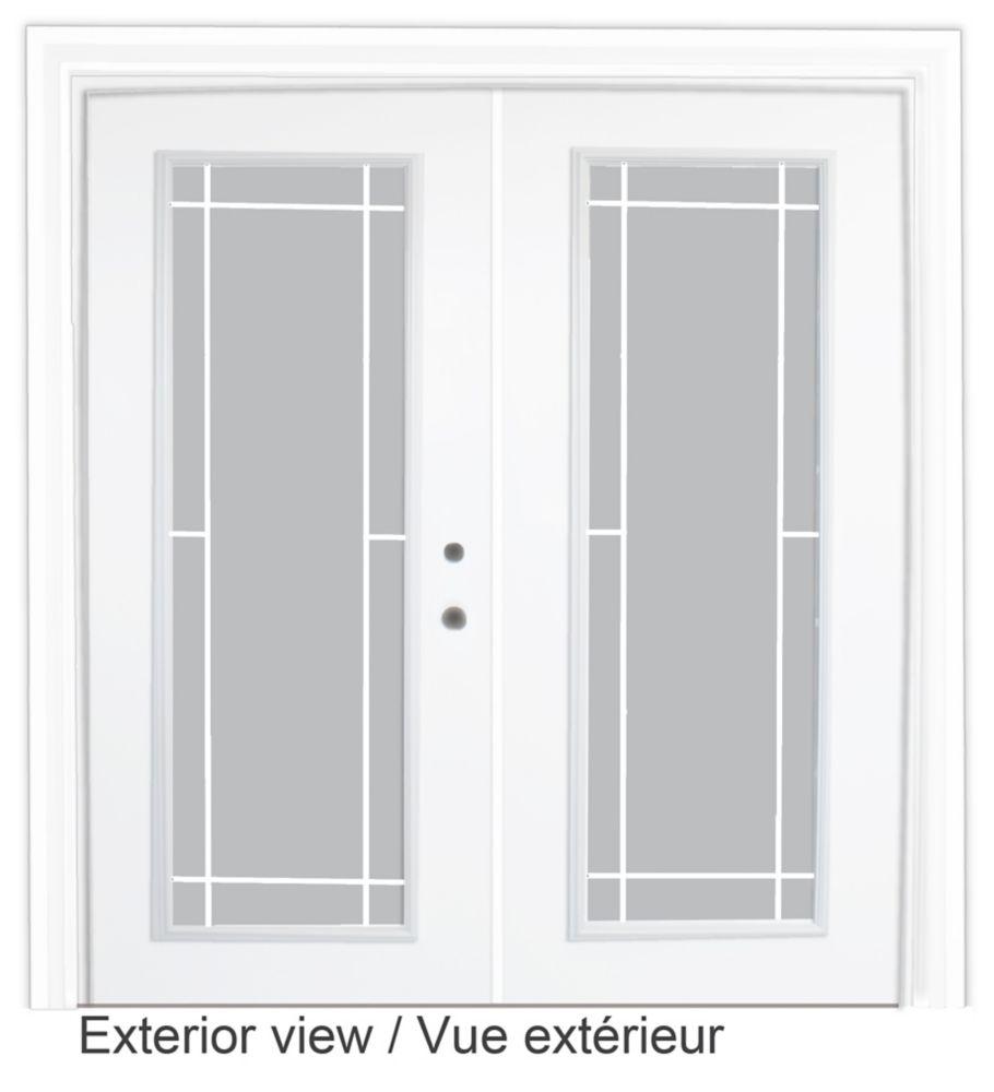 60-inch x 82-inch White Low-E Argon Lefthand Steel Garden Door with Prairie Style Grill