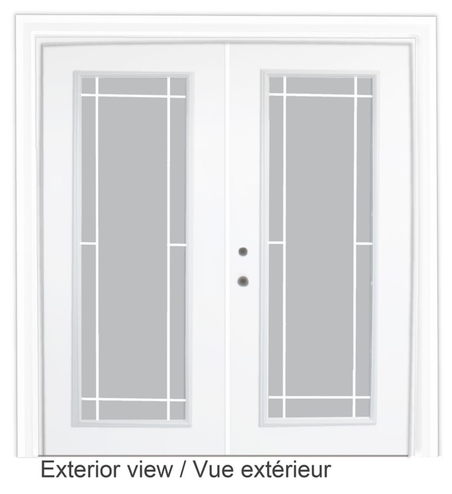 60-inch x 82-inch White Low-E Argon Righthand Steel Garden Door with Prairie Style Grill