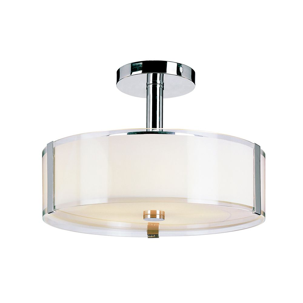Bel air lighting 5 light 16 inch chrome ceiling light fixture with opal glass shade