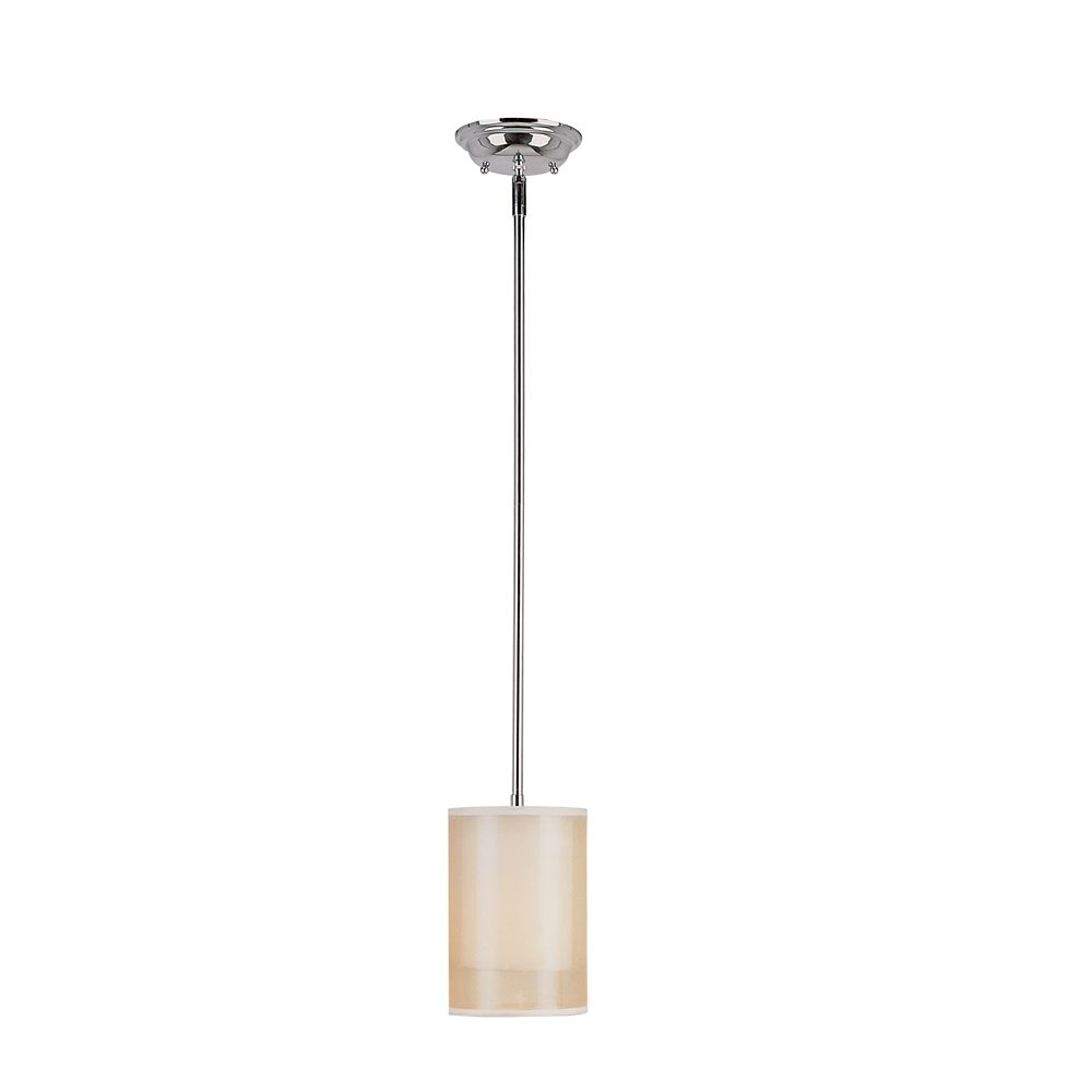 Chrome and Champagne Drum Pendant - 6 inch
