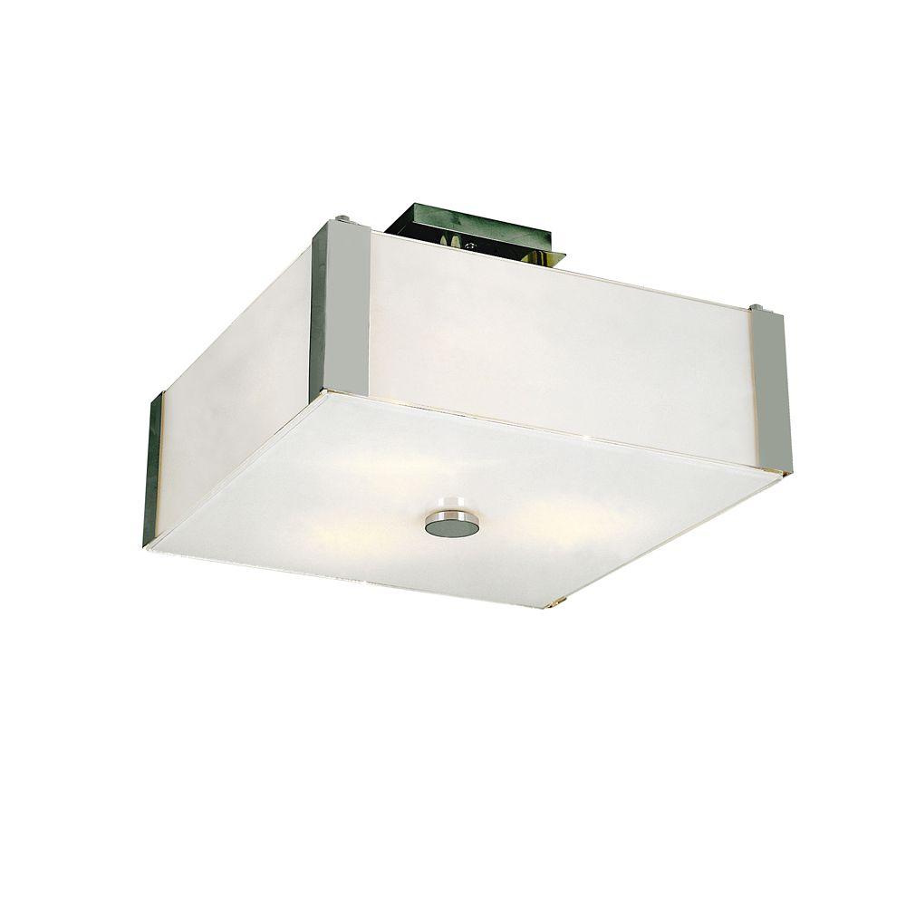 Bel Air Lighting Chrome and Opal 14 inch Semi Flush