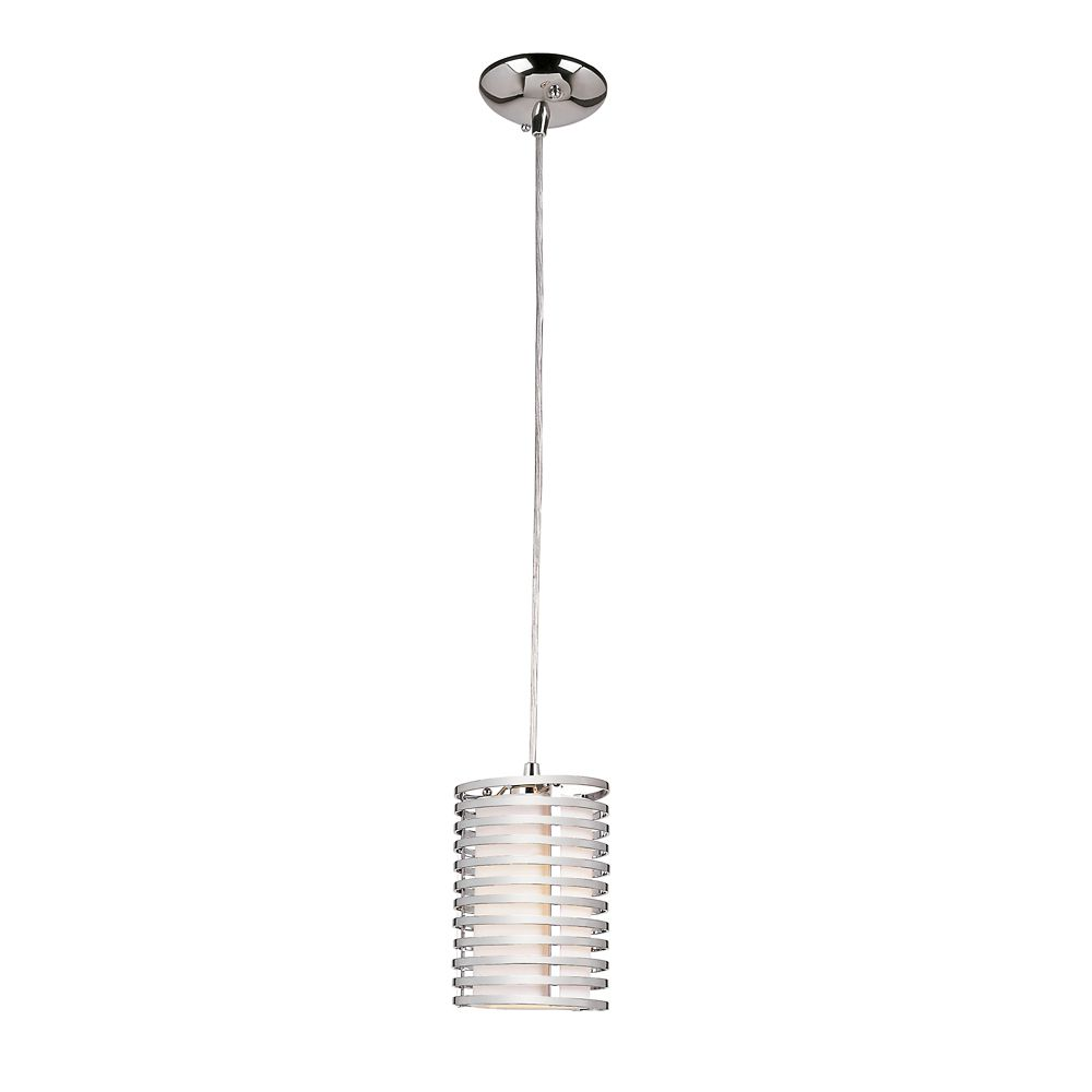 Suspension cylindrique toile de lin, chrome - 12,70 cm (5 po)