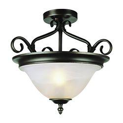 Bel Air Lighting Luminaire semi-affleurant, verre marbré, bronze