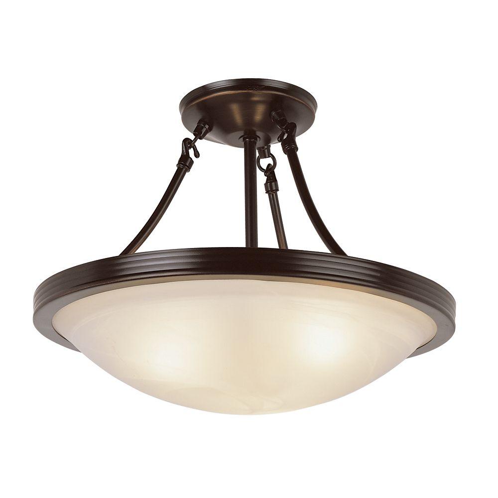 Luminaire semi-affleurant, verre marbré, bronze, 38,10 cm (15 po)