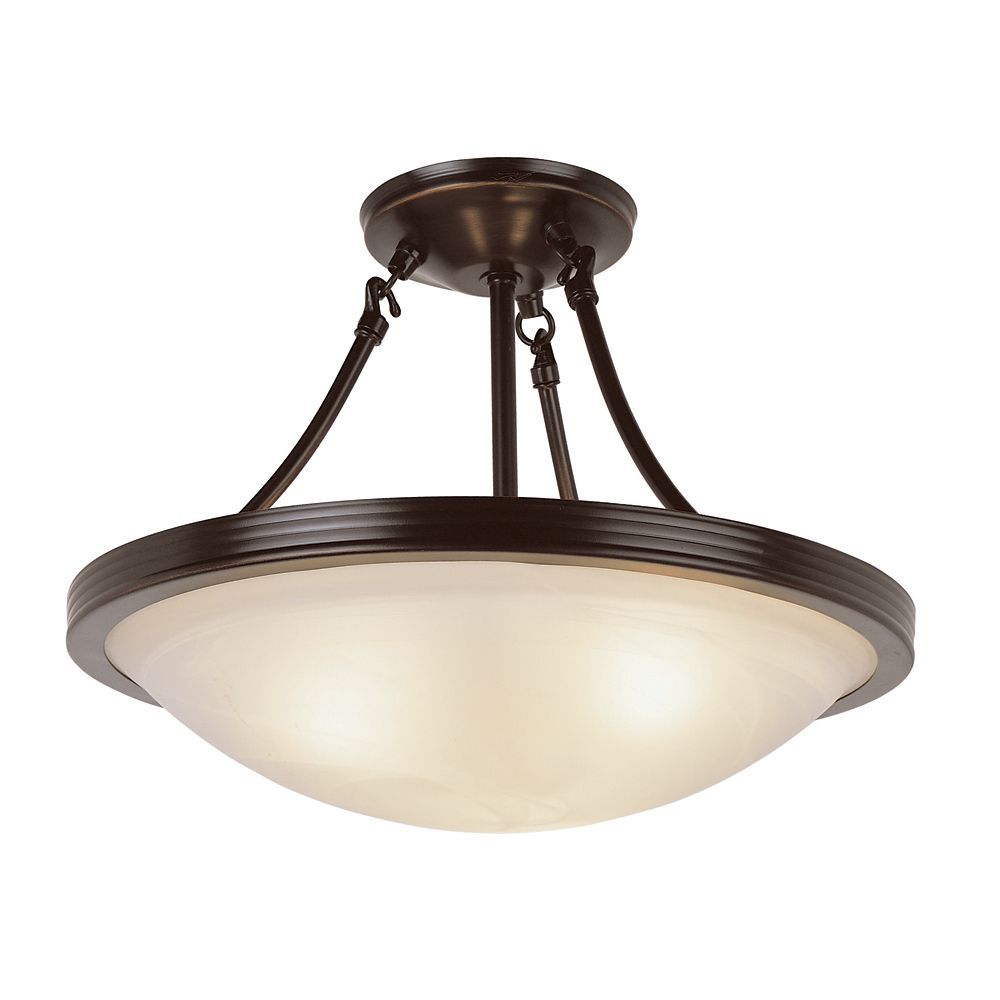 Bel Air Lighting Bronze with Marbled Glass 15 inch Semi Flush