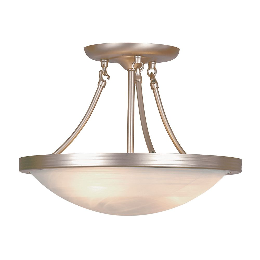 Nickel with Marbled Glass 15 inch Semi Flush