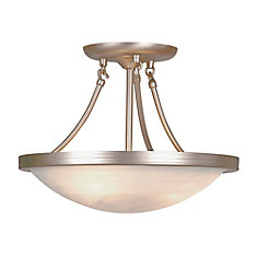 15-inch 3-Light Brushed Nickel Semi-Flushmount Light Fixture with Marbled Glass Shade