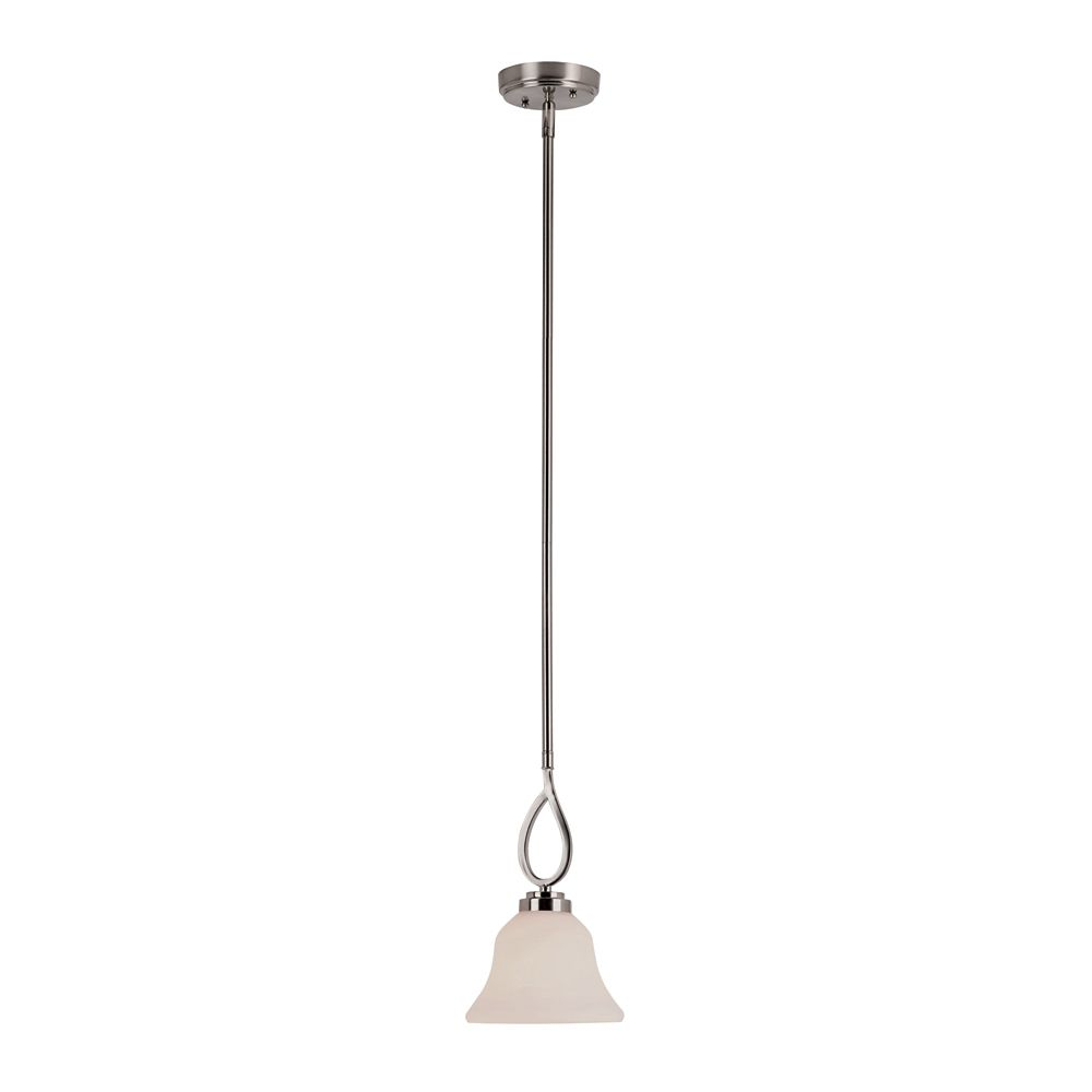Bel Air Lighting Nickel Looped and White Frosted Bar Pendant