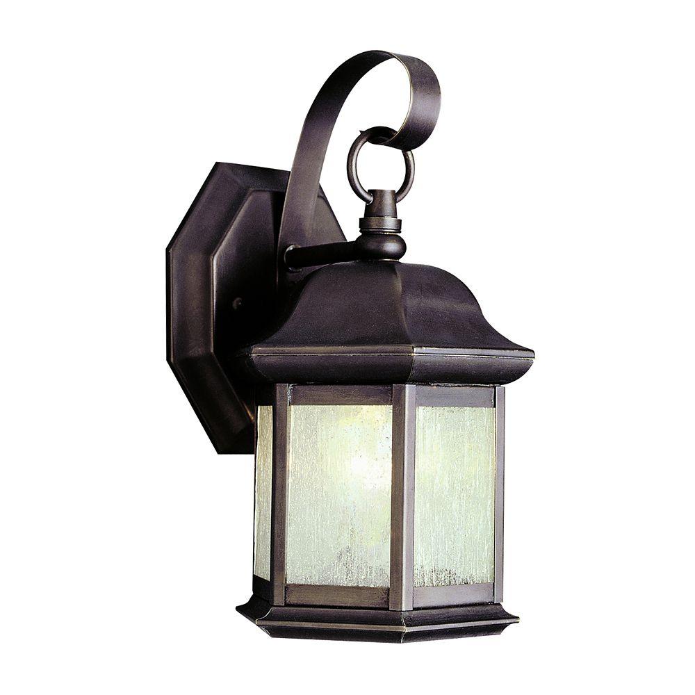 Lanterne, verre granuleux, noire fini bronze