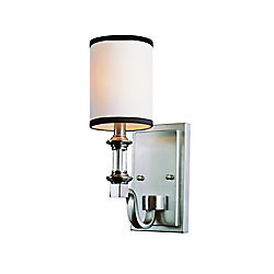 Bel Air Lighting Nickel Crystal and Linen Wall Sconce
