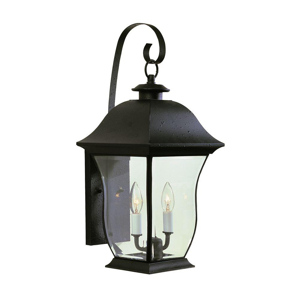 Bel Air Lighting Black Curved Glass Wall Light - Medium