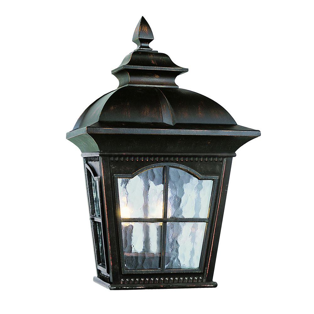 Luminaire de porche à facettes festonnées, rouille