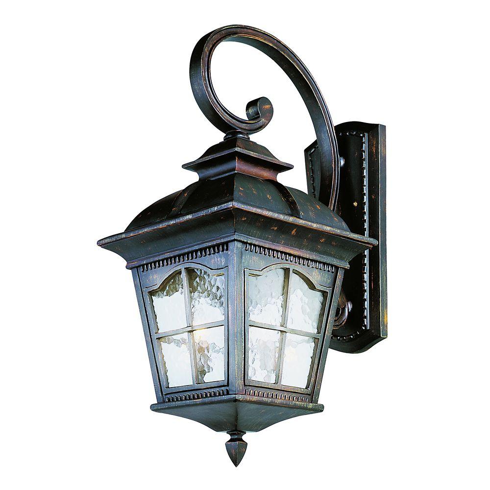 Bel Air Lighting Bostonian 4-Light Antique Rust Outdoor Coach Lantern with Water Glass