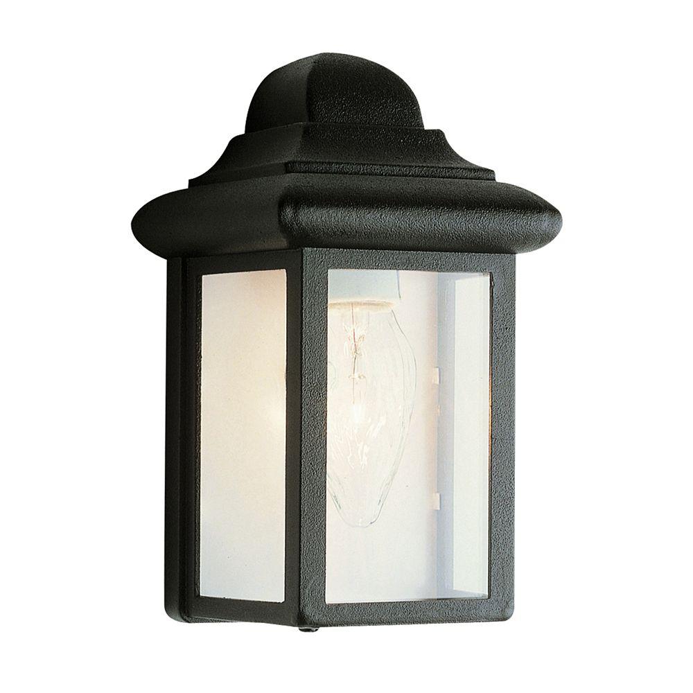 Luminaire de terrasse, verre transparent biseauté, noir, 20,32 cm (8 po)