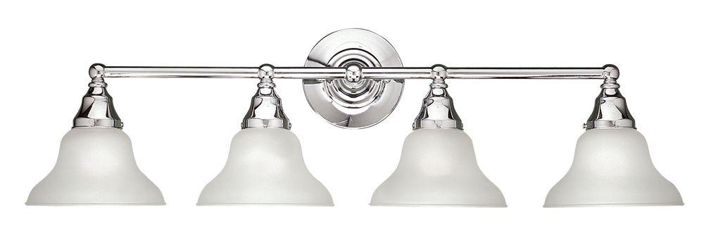 Luminaire de salle de bain à 4 lampes au fini chrome de la Collection Asten