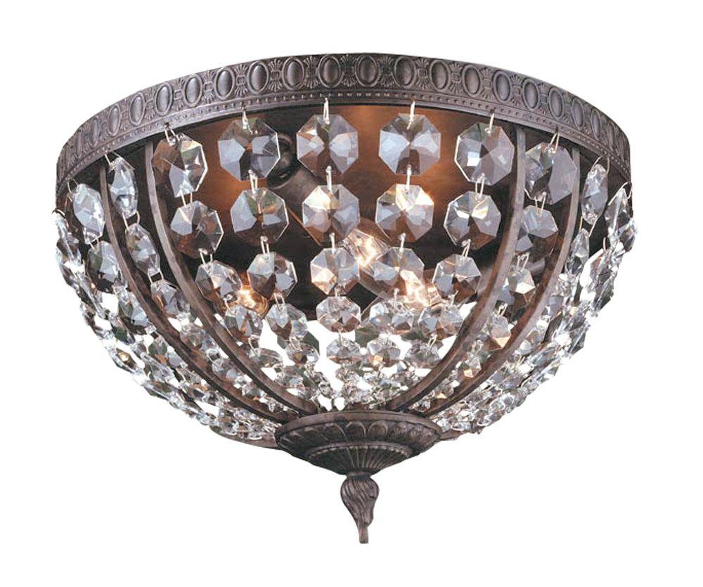 Luminaire affleurant à 3 lampes au fini flamand de la Collection Bijoux, 13 po