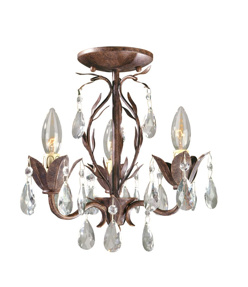 Lustre semi-affleurant transformable à 3 lampes au fini bronze vieilli de la Collection Bijoux