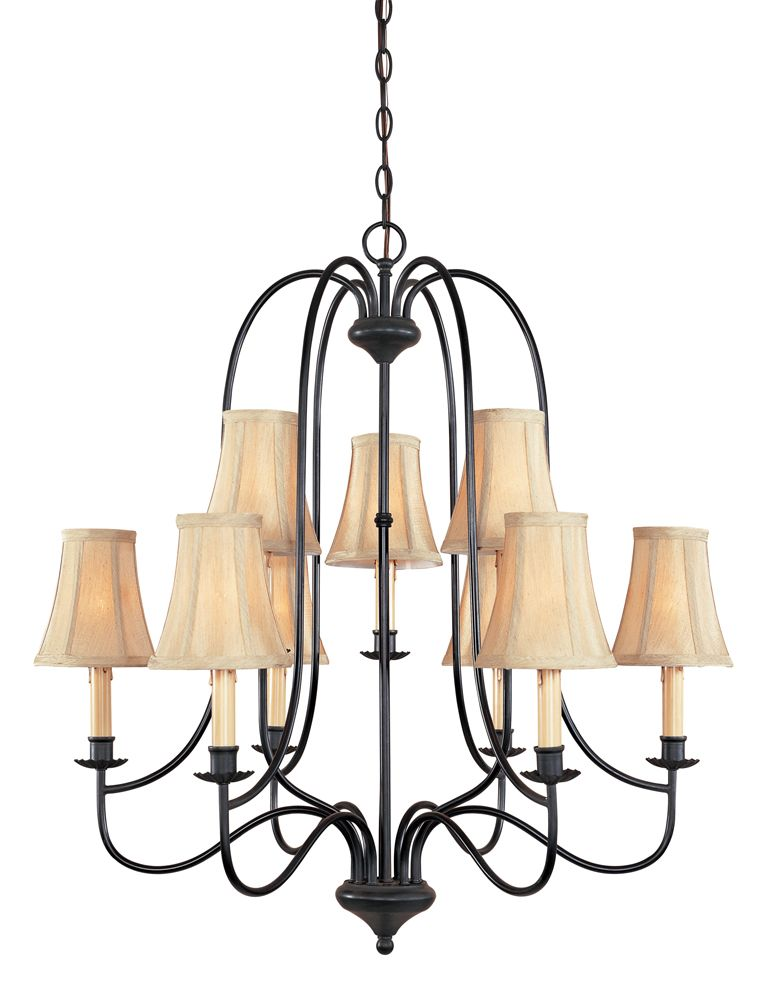 Brondy Collection 9-Light Chandelier in Aged Ebony