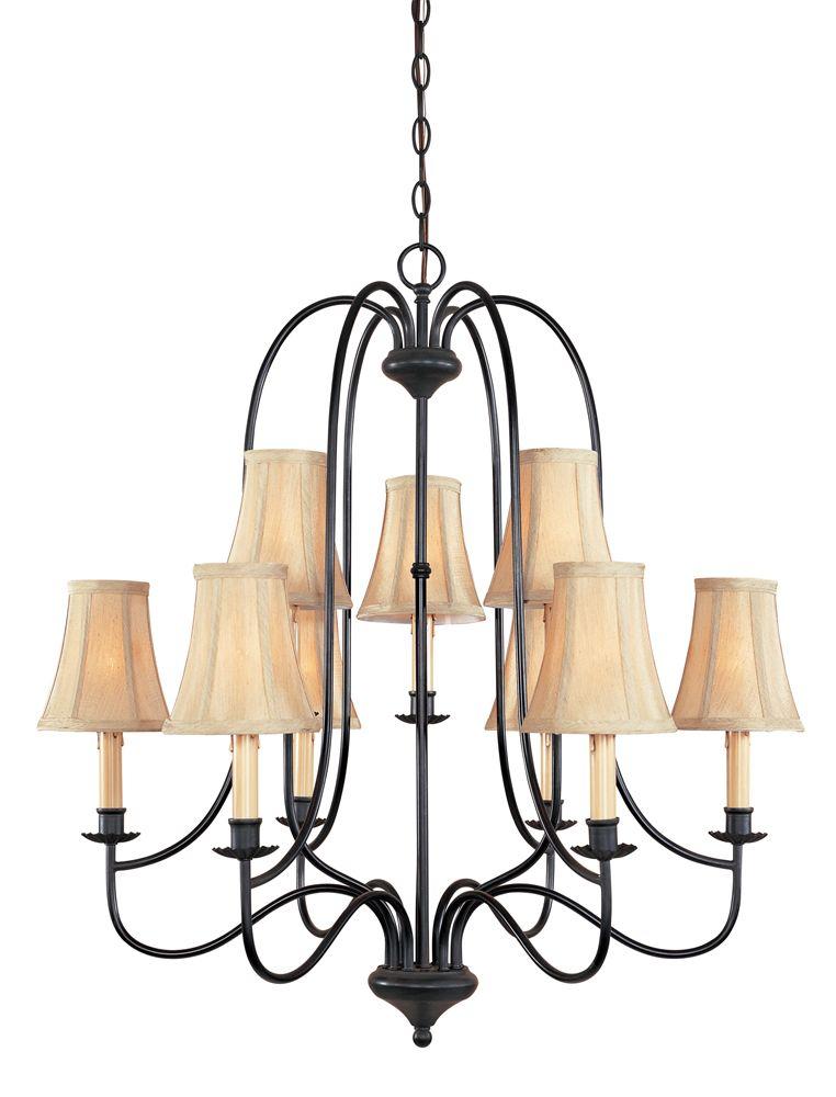 Lustre à 9 lampes au fini ébène vieilli de la Collection Brondy