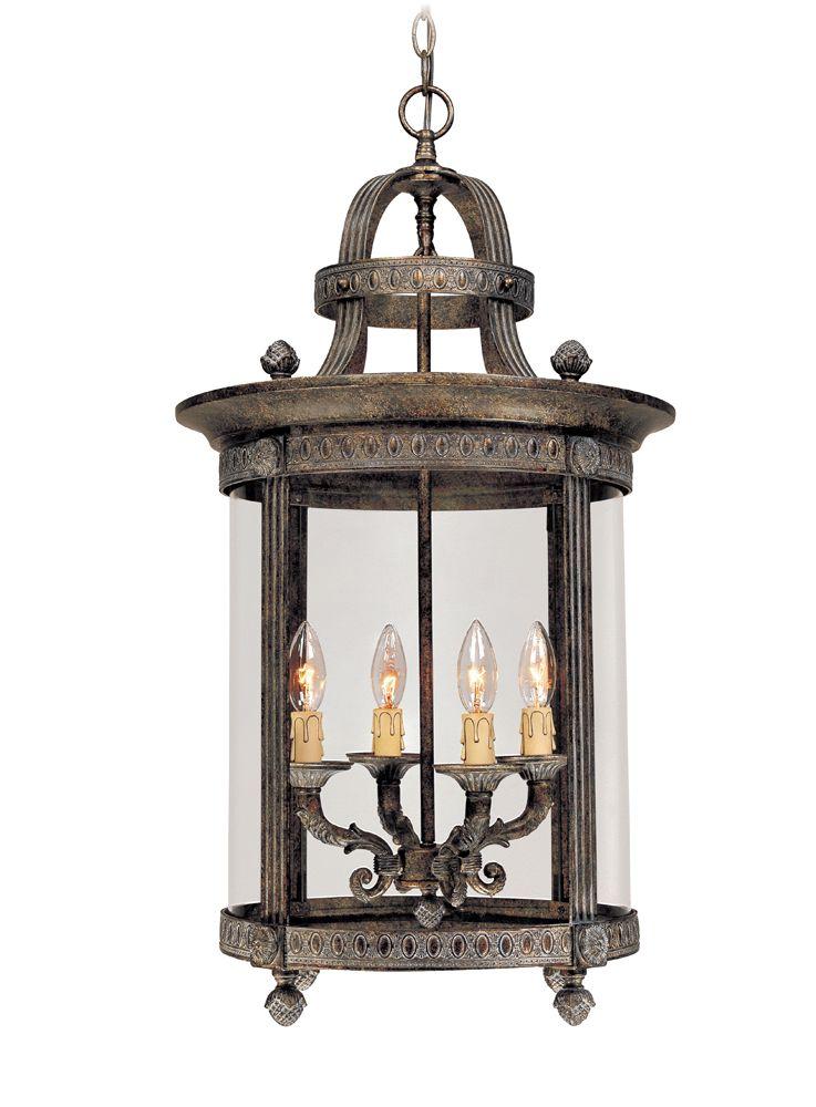 Lanterne suspendue intérieure à 4 lampes au fini bronze français de la Collection Chatham