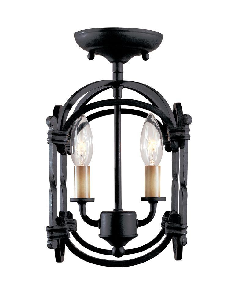 Hastings Collection 2-Light Semi-Flushmount Lantern in Rust