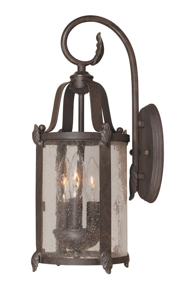 Lanterne murale extérieure à 3 lampes au fini bronze de la Collection Old Sturbridge, 7 po