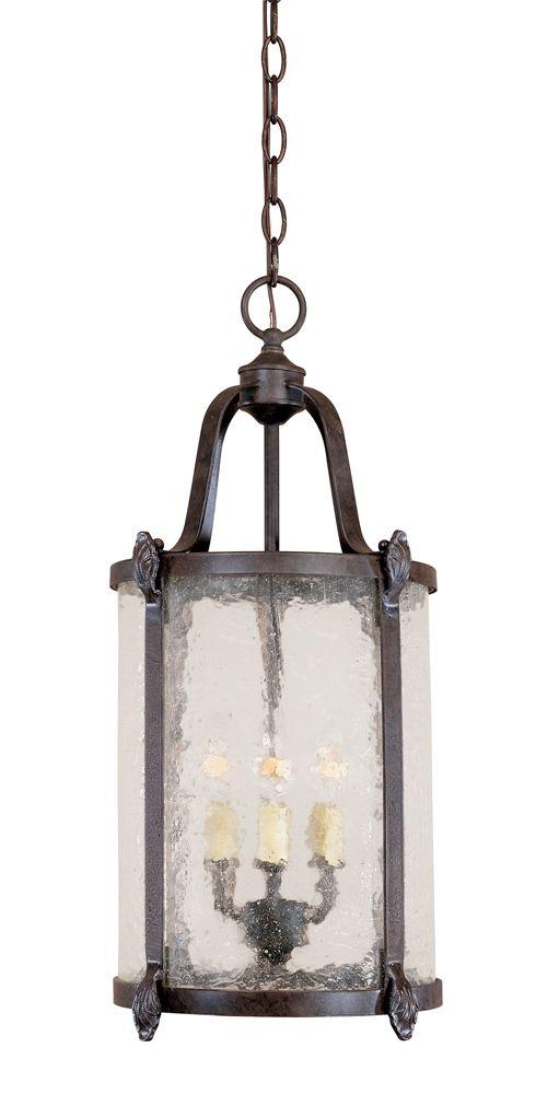 Lanterne suspendue intérieure/extérieure à 3 lampes au fini bronze de la Collection Old Sturbridg...
