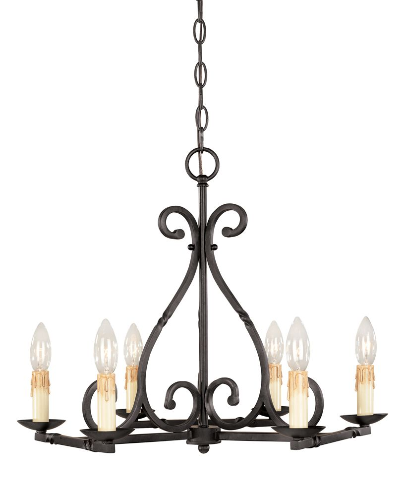 Rennes Collection 6-Light Chandelier in Rust