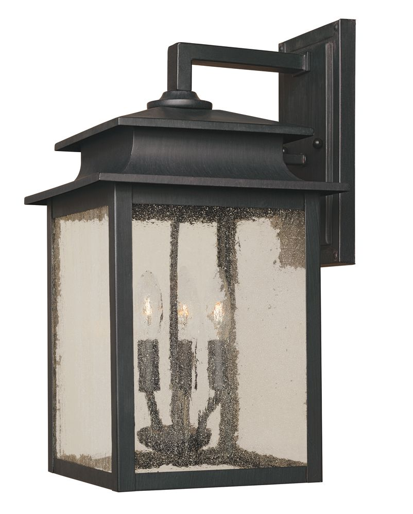 Sutton Collection Rust 3-Light 9 in. Outdoor Wall Sconce
