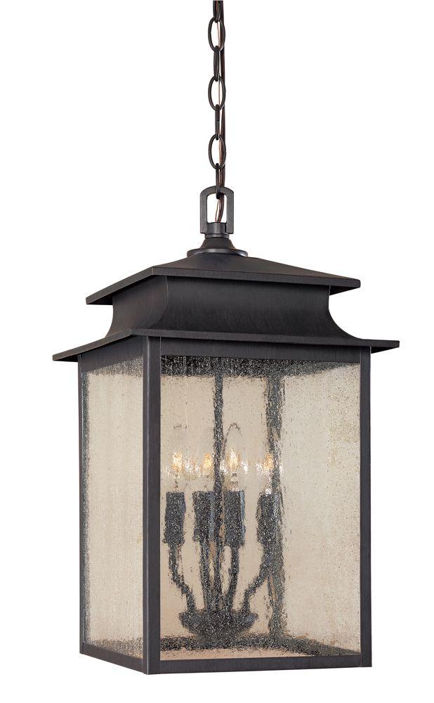 Lanterne suspendue à 4 lampes au fini rouille de la Collection Sutton, 12 po