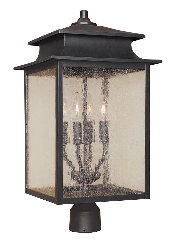 Lanterne sur poteau à 4 lampes au fini rouille de la Collection Sutton, 12 po