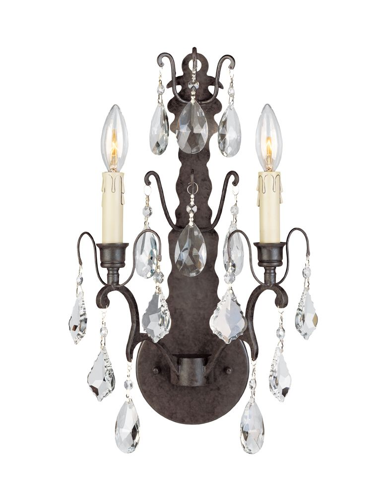 Timeless Elegance Collection 2-Light Wall Sconce in Bronze with Crystals