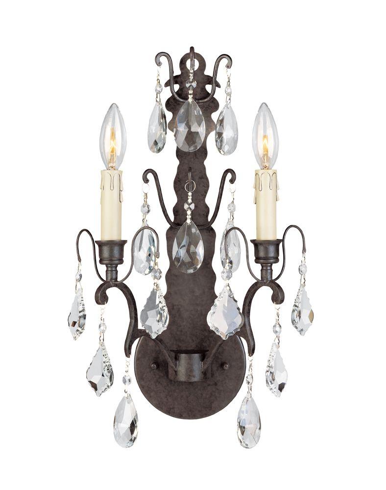 Applique murale à 2 lampes au fini bronze avec pendeloques de la Collection Timeless Elegance