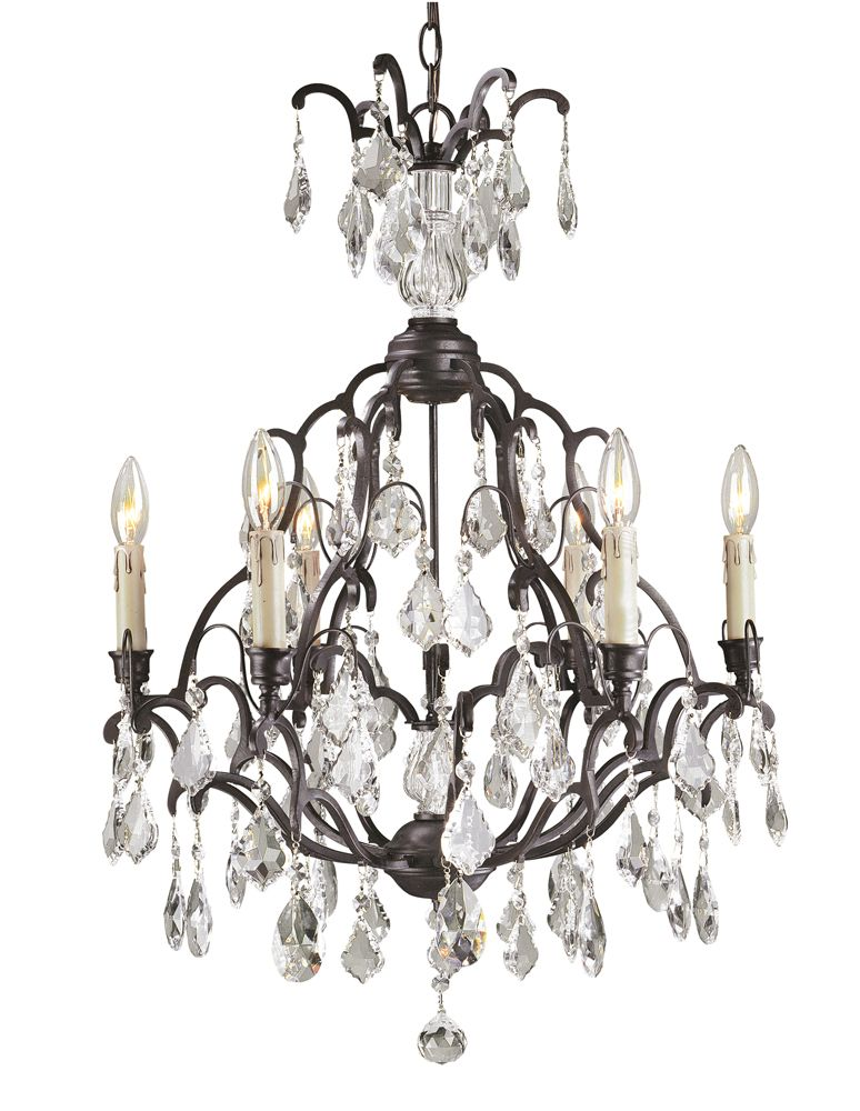 Timeless Elegance Collection 6-Light Crystal Chandelier In Bronze Finish