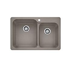 Silgranit Top-Mount Natural Granite Composite 1.75-Bowl Kitchen Sink in Truffle