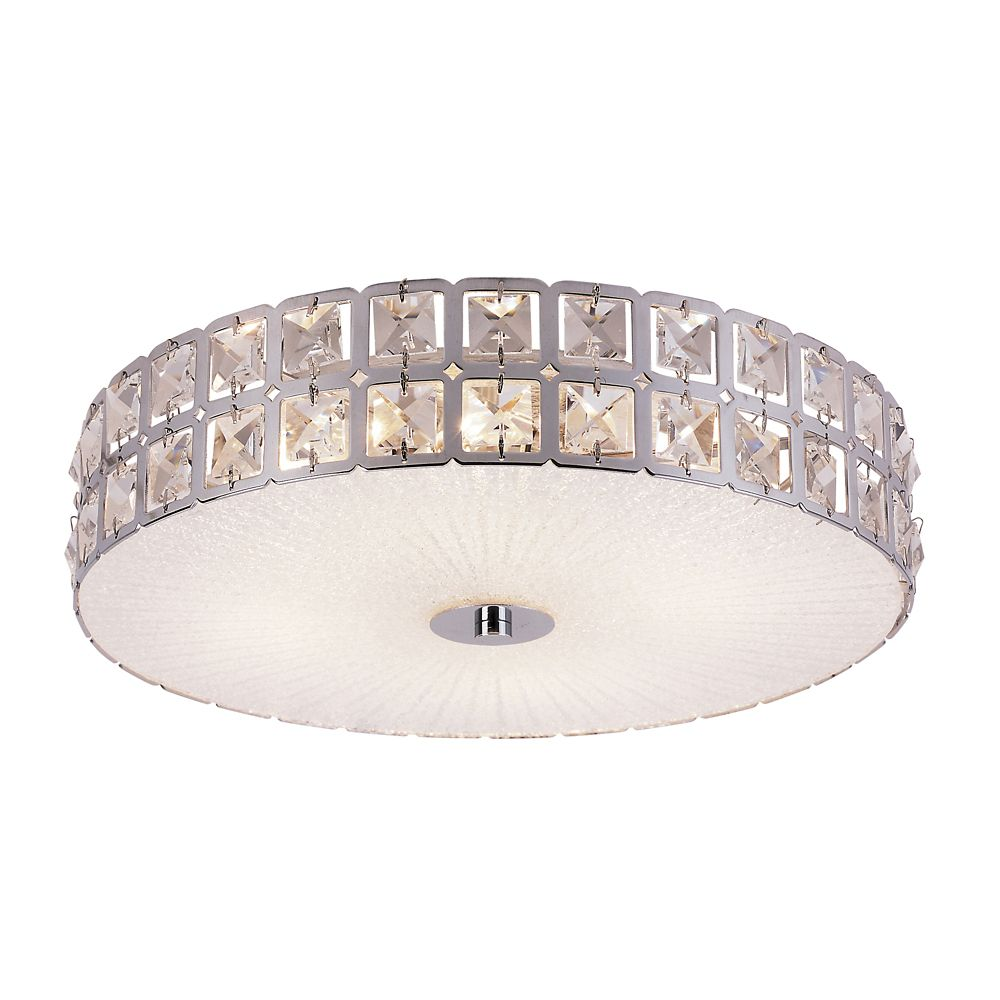 Bel Air Lighting Graniglia Crystal and Chrome 15 inch Flush Mount