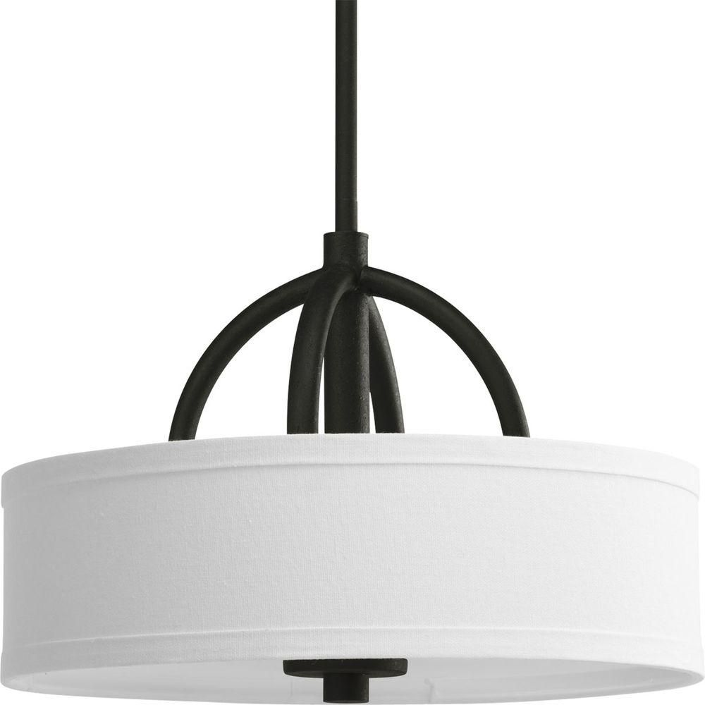 Calven Collection Forged Black 3-light Semi-flushmount