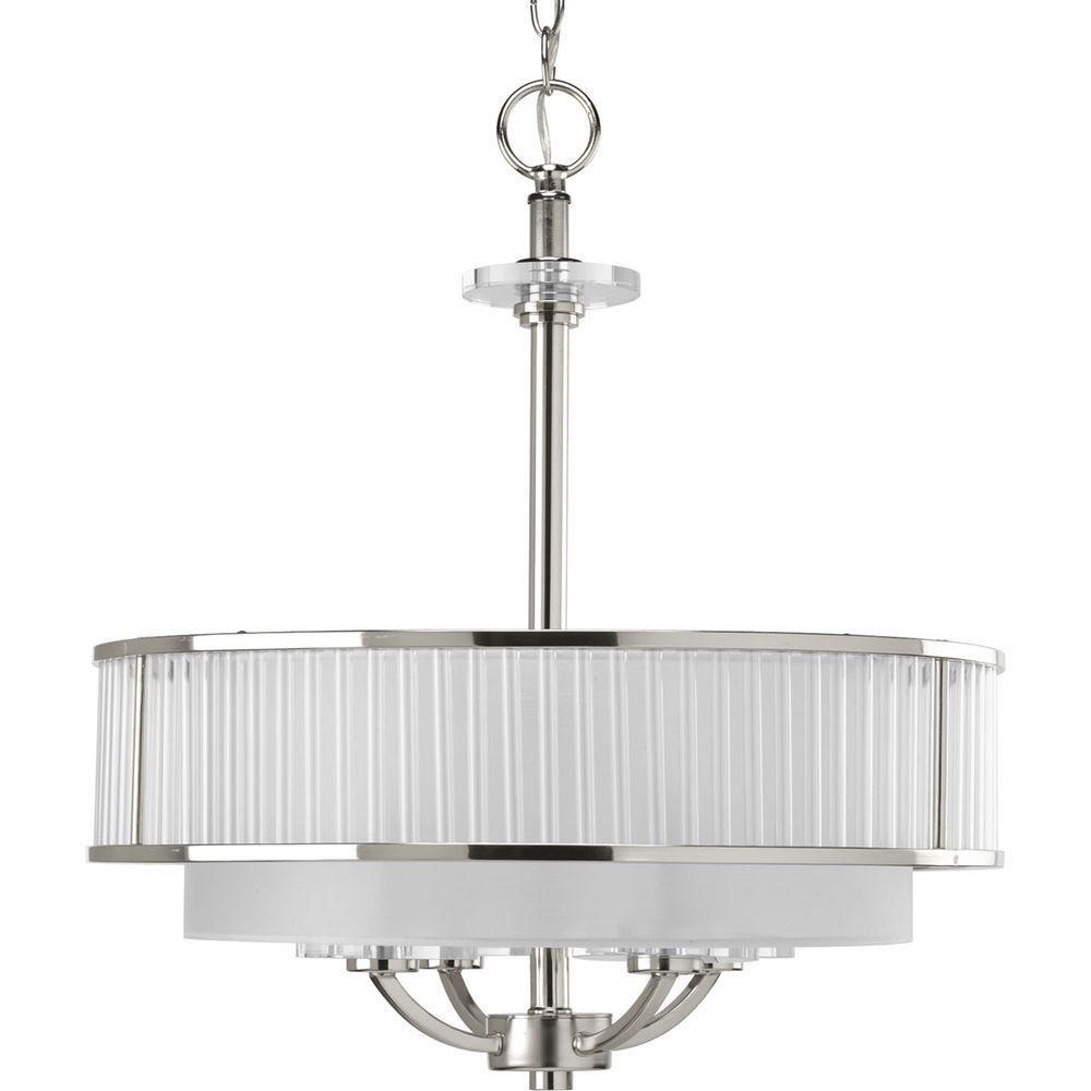 Semi-plafonnier à 4 Lumières, Collection Nisse - fini Nickel Astiqué