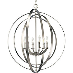 Progress Lighting Equinox Collection 28-inch x 30-inch 6-Light Foyer Pendant Chandelier in Burnished Silver