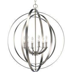 Progress Lighting Lustre de vestibule à 6 Lumières, Collection Equinox - fini Argent Bruni