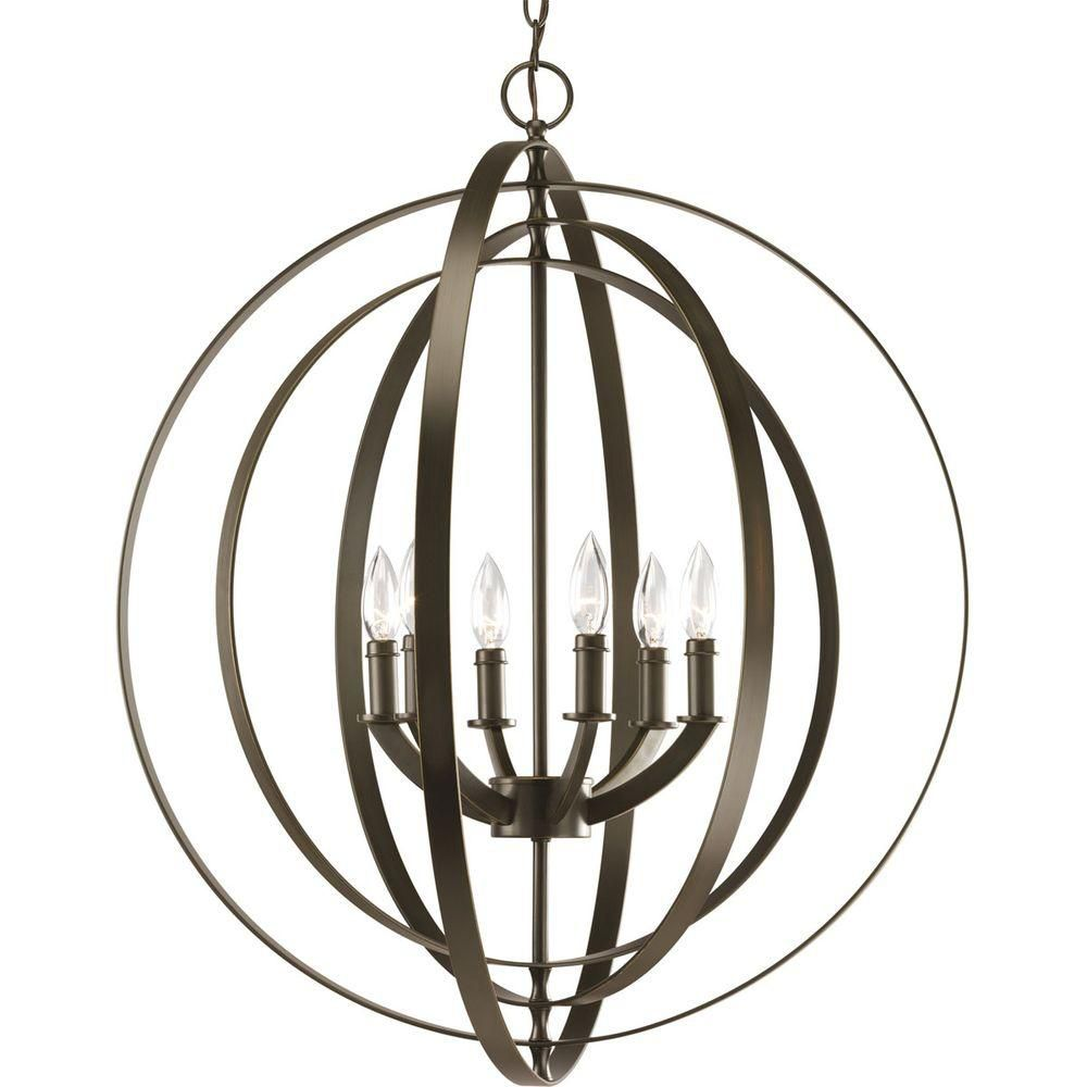 Foyer Chandelier Home Depot : Progress lighting equinox collection antique bronze