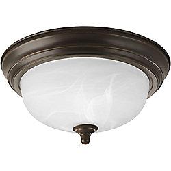 Progress Lighting 60W 1-Light Antique Bronze Flushmount with Alabaster Glass