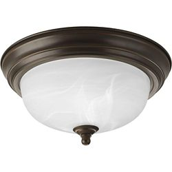 Progress Lighting 60W 1-Light Antique Bronze Flushmount with Alabaster Glass