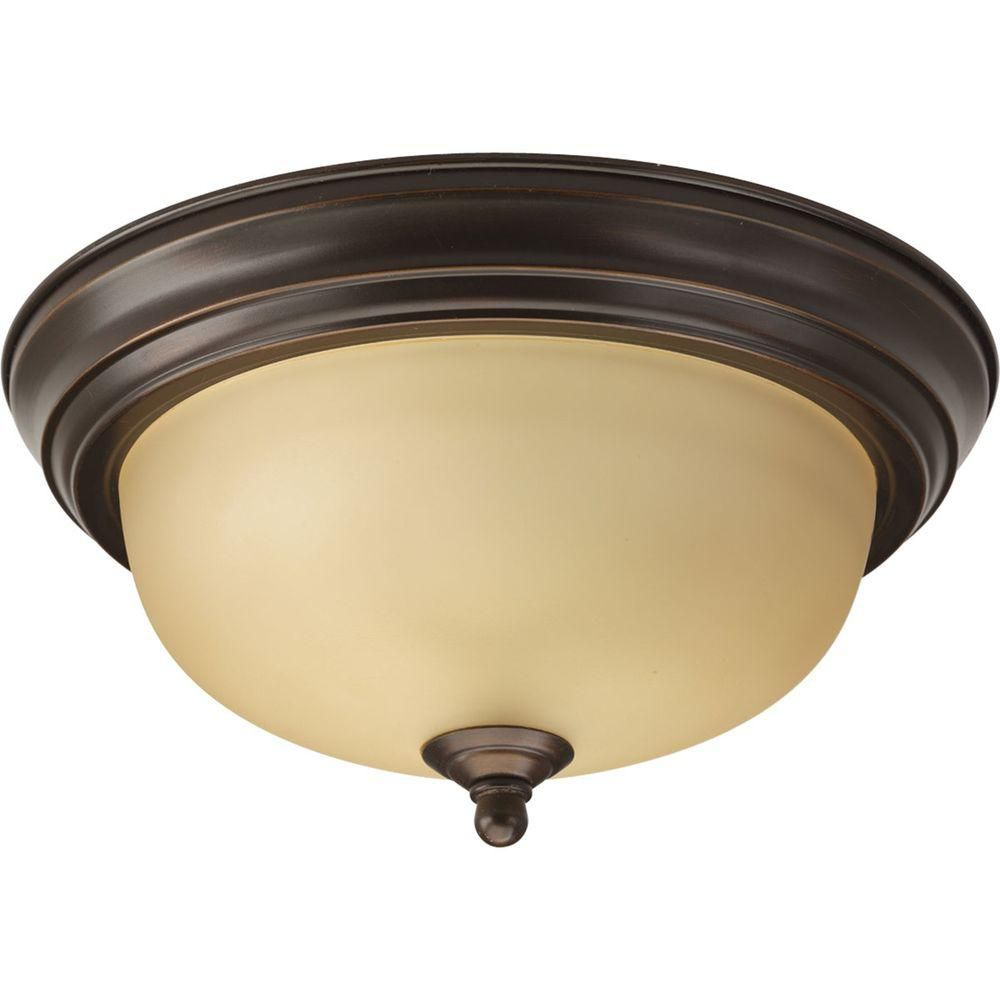 Progress Lighting 60W 1-Light Antique Bronze Flushmount