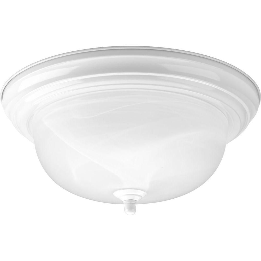 White 2-light Flushmount
