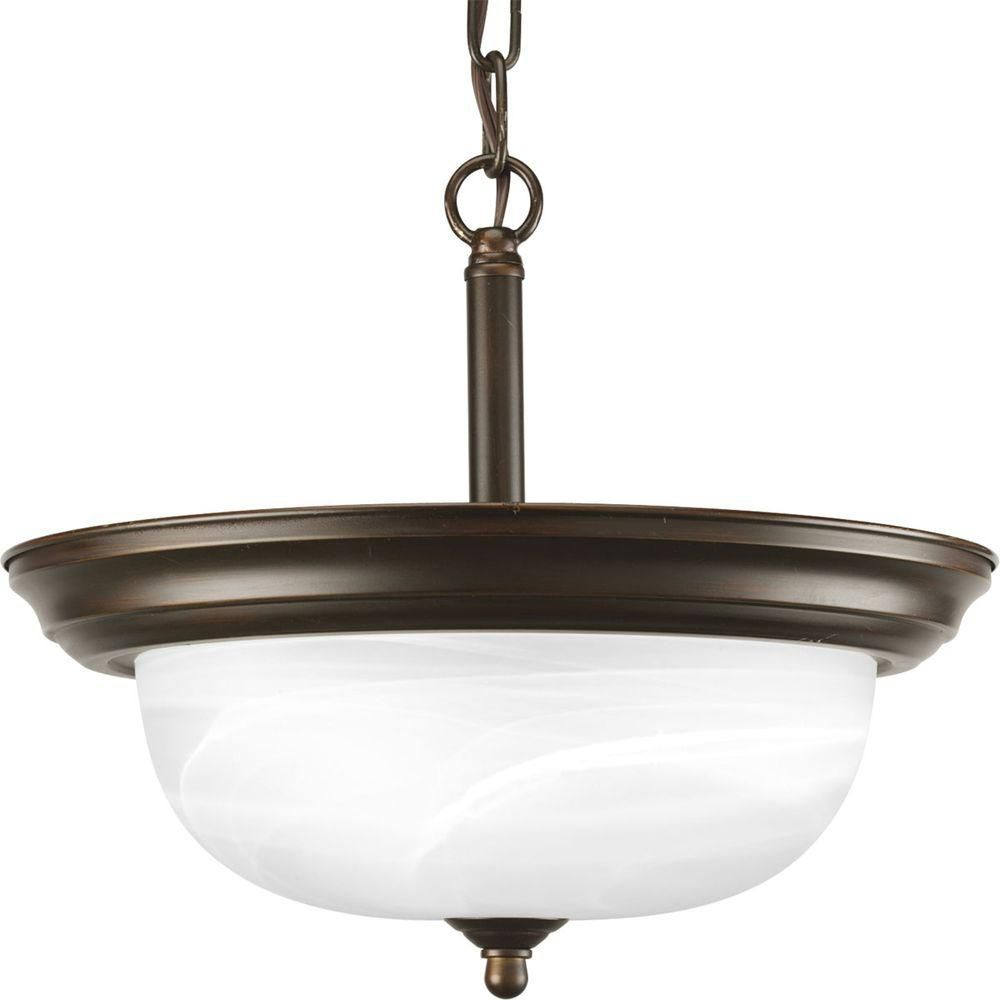 Antique Bronze 2-light Semi-flushmount
